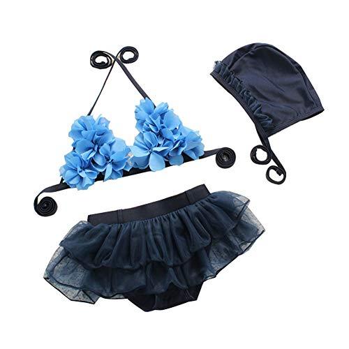 Crystal Drill Mädchen Prinzessin Rock Bikini/Blau Stereo Flower Garn Rock Split Badeanzug für 3-10Y, mit ()