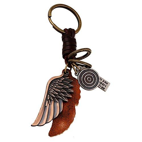 Hosaire 1x Mode Schlüsselanhänger Geflochtenes Leder Seil mit Engelsflügel Form Legierung Anhänger Schlüsselbund Auto Keychain Rucksack Taschen Deko Anhänger