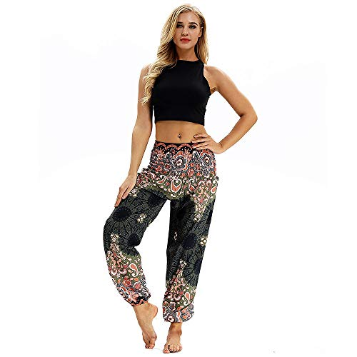 Xmiral Women Pants Polyester Casual Loose Hippy Yoga Trousers Baggy Men Boho Print Harem Pants Trousers