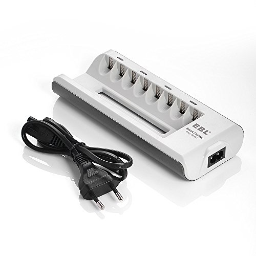 EBL Akku Ladegerät AA AAA Batterieladegerät für Mignon AA, Micro AAA NI-MH NI-Cd wiederaufladbar Batterien 8-Ladeplatz mit LED Anzeige (Nicd-akku-ladegerät)