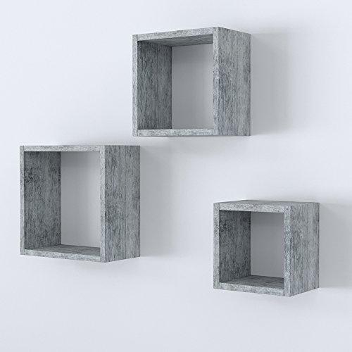 Vicco Wandregal 3er Set - 3 Größen Deko Würfelregal Holz Hängeregal Cube Büroregal CD Buch Sonoma Eiche - Bücher Kinder Für Auf Cd