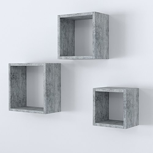 Vicco Wandregal 3er Set - 3 Größen Deko Würfelregal Holz Hängeregal Cube Büroregal CD Buch Sonoma Eiche (Beton)