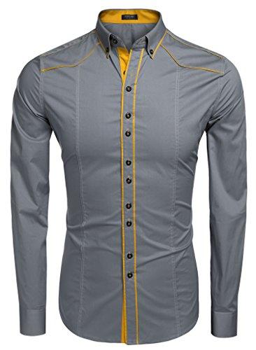 Burlady Herren Hemden Shirt Langarm Slim Fit Casual Business Kentkragen Hemd A Grau