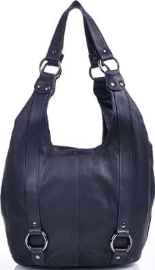 MASQUENADA, Damen Handtasche, XXL It-Bag Soft Leder Trend Shopper Tasche Blau, Dunkelblau, Blau-Schwarz, 40x30x10 cm (BxHxT)