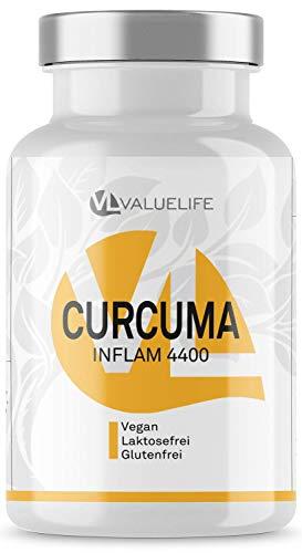 Curcuma Inflam Komplex - hochdosiert mit Curcumin, Weihrauch, Myrrhe, Estragon, Bioperine + Vitamin C & E - 90 vegane Kapseln von VALUELIFE