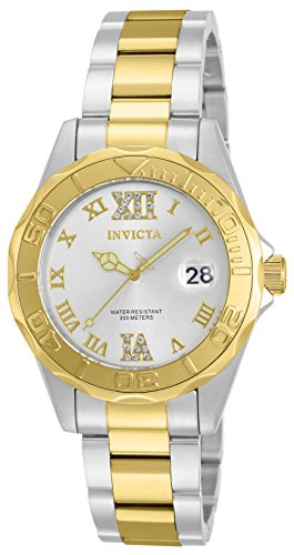 Invicta Women's Pro Diver Quartz Watch with Silver Dial Analogue Display and Multicolour Gold Plated Bracelet 12852