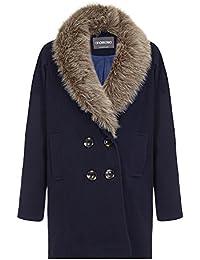 Anastasia Navy Women's Fur Collar Winter Coat