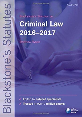 Blackstone's Statutes on Criminal Law 2016-2017 (Blackstone's Statute Series)