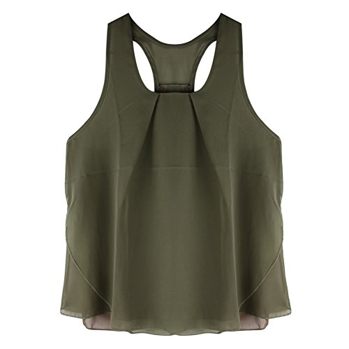 Eleery Débardeur Femme Tops Gilet Vest T-shirt Blouse sans Manches Haut Été Soie de Mousseline Col O Casual Simple Clubwear Plage Kaki