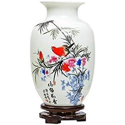 Chinesische Vogel Und Blumenvase, Jing Dezhen Weiße Kleine Keramikvase Antike Vasen, Kunst Dekorative Vase Für Haushalt, Büro, Hochzeit, Party