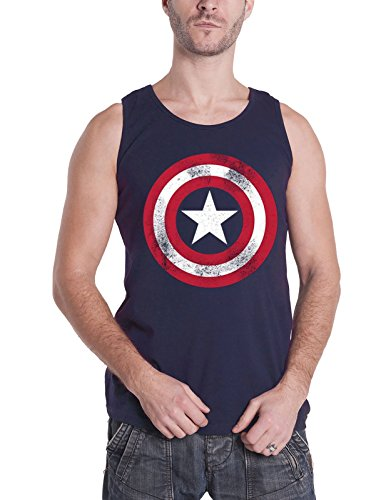 Captain America Vest Top Distressed Shield Logo Official Mens Navy Blue