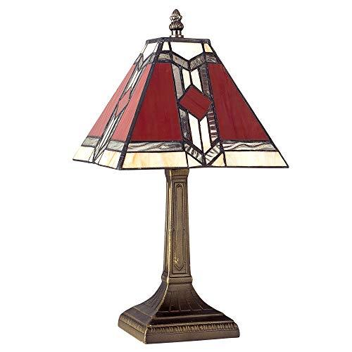 Lampe de Table Facon Louis Comfort Tiffany. Résine Aspect Bronze. Abat-jour Fait à Main en Verre...