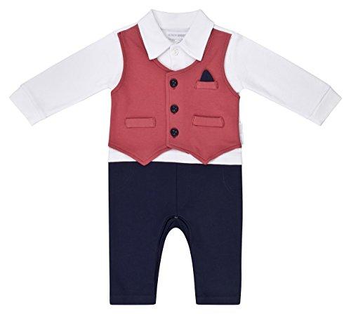 Nursery Time Strampler Baby Jungen kleiner Anzug blau rot weinrot Weste mit Brusttasche perfekt für Feiern und Feste Partyoutfit (68/74 (6-9)) (Söhne, Hosen Die Männer)