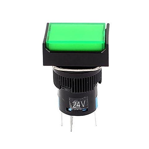 sourcingmap® DC 24V Lampe verte SPST 5 bouton poussoir momentané borne l'interrupteur à bouton-poussoir