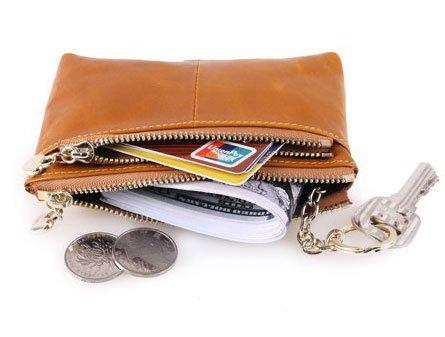 Borsa di cuoio reale della borsa del sacchetto della moneta della borsa della signora delle donne, borsa di lusso di viaggio di cuoio di lusso (LightBrown) Marrone chiaro