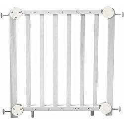 roba Türschutzgitter, Schutzgitter Holz weiß, Durchgangssicherung barrierefrei, variable Breite 72-115,5 cm, Tür- und Treppengitter für Kinder & Haustiere