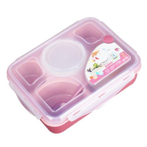 Mikrowelle 5Grid Kunststoff multicellular Lunchbox mit Suppenschüssel Und Löffel Für Schule Und Arbeit rose