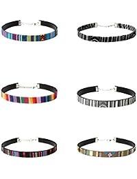 Hexawata Bohemian 90s Multicolor Elastic Braided Velvet Choker Necklace Set Of 6