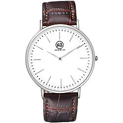 AIBI Waterproof Brown Leather Ultra Thin Case Men's Quartz Watch for Boyfriend,Case Thickness:6.0mm
