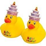 MC-Trend Happy Birthday Patito de goma pato quietscheente Cumpleaños con texto pasteles tarta en la...