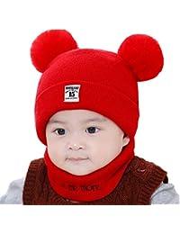 QAL Bufanda Sombrero De Algodón Al Aire Libre 0 - Diciembre Seis Colores Opcional Otoño Invierno De Espesor Warm Baby Hat Bufanda,Red