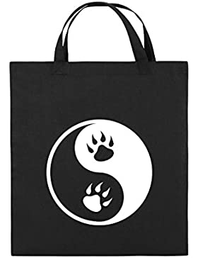 Comedy Bags - YING YANG - PFOTE - Jutebeutel bedruckt, Baumwolltasche zwei kurze Henkel aus 100 % Baumwolle in...