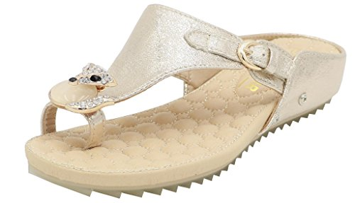 AgeeMi Shoes Damen Flip Flops Diamant Keilabsatz Slip on Sommer Beach Sandalen Gold PU (EuL10)