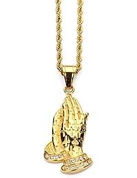e1a720826726 CACTUS88 Acero de moda Exagerar Cristales Budismo Manos Estilo Colgante  Collar
