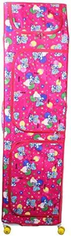 Vouch Plastic Foldable Wardrobe Organizer, D1, 7 Shelves, Pink