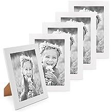 Juego de 5 marcos 10x15 cm Photolini Basic Collection modernos, blancos de MDF, incluyendo accesorios / collage de fotos / galería de imágenes