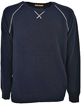 Suéter de los Hombres de cuello redondo Mangas Raglán Costuras de Contraste de Lana de mixto Cachemir