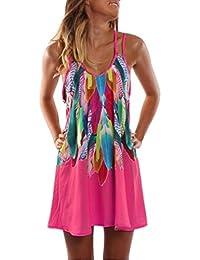 64bba8ce84a OverDose vestidos mangas de la playa de la playa de la impresión retra sin  mangas de la moda de las mujeres…