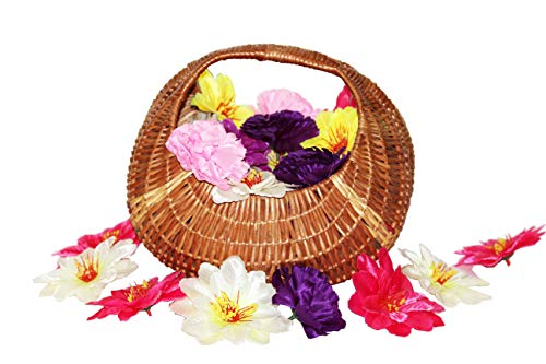 Gabion India Cane gift basket/ wicker baskets for storage, perfect for functions like wedding, birthday, rakhi, Diwali, valentine (chocolate) /Vegetable, fruits and flower Storage with handle also for Kitchen storage/ Natural Coloured Eco-Friendly Multiutility Wicker Farmer's Basket.
