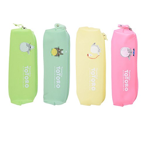 Aibecy 4pcs Cute Jelly Soft Waterproof Pen Pencil Case Set Zipper Stationery Bags Lovely Cat Pattern for Girls School Students