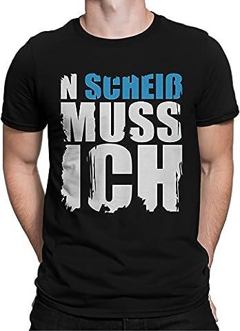 N Scheiss muss ich. Cooler Spruch in 4 Neon Farben / Premium Fun Motiv T-Shirt XS-5XL mit Aufdruck / Ideales Geschenk, Color:Blau,