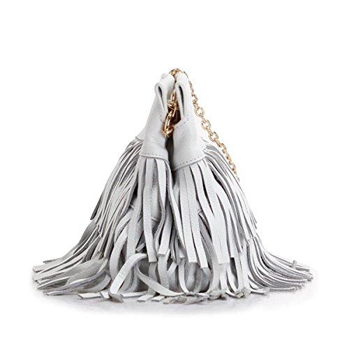 ZPFME Womens Handtasche Rindsleder Quaste Mädchen Party Retro Damen Mode Damen Tasche Handtasche Kette Umhängetasche White