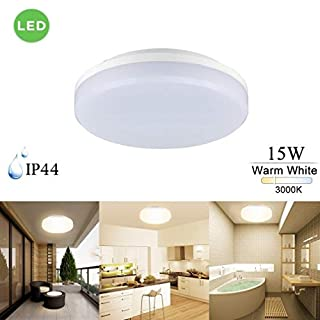 KWODE LED Ceiling Light IP44 Waterproof 15W 3000K Warm White 1300LM Flush Mount Fixtures for Bathroom Balcony Hotel