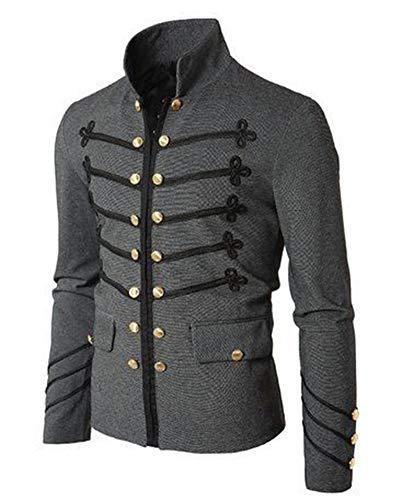 Piraten Günstige Männer Kostüm - Runyue Herren Vintage Jacke Steampunk Mantel Gothic Victorian Cosplay Uniform Piraten Kostüm Coat Grau XL