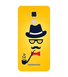 Fiobs Designer Back Case Cover for Asus Zenfone Max ZC550KL :: Asus Zenfone Max ZC550KL 2016 :: Asus Zenfone Max ZC550KL 6A076IN (Hat Spectacles Ciggar Mustache)
