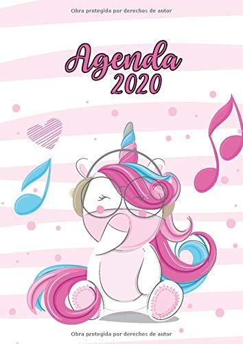 Agenda 2020: Tema Unicornios Agenda Mensual y Semanal + Organizador Diario I Planificador Semana Vista A4 Rayas Rosa y Blanco