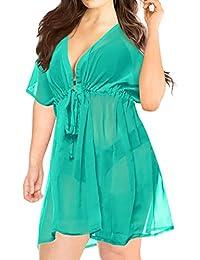 bbc503c977 LA LEELA Women's Summer Holiday Solid Plain Drawstring Chiffon Bikini Cover  Up Sun Swimwear Beachwear Dress