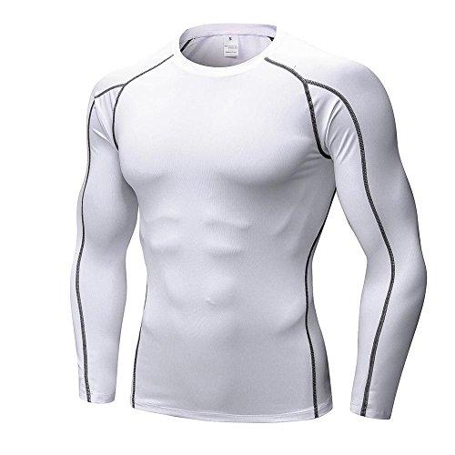 EFINNY Herren Kompressionsshirt Funktionsshirt Schnell Trocknend Langarm Sportbekleidung für Gymnastik Laufen Radfahren Übung (Weiß,S) -
