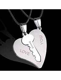 Bobury 2pcs hombres de las mujeres de los pares Rompecabezas Pareja collares conjunto llave del corazón colgante de collar suéter grabados