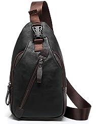 FREEMASTER Mochila de hombro para hombre, estilo vintage, piel sintética, se puede llevar sobre el pecho, ideal para hacer senderismo, pequeño tamaño, moderna,