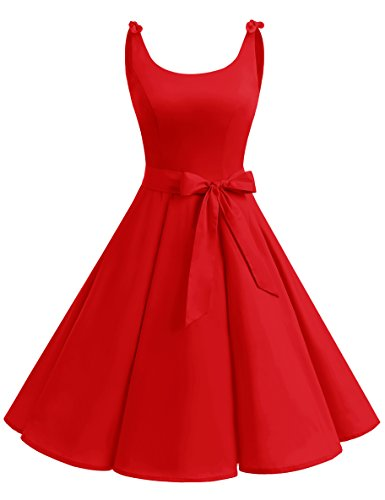 bbonlinedress 1950er Vintage Polka Dots Pinup Retro Rockabilly Kleid Cocktailkleider Red XS