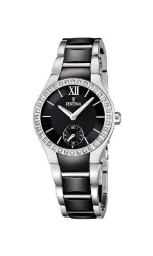 Festina Women's Quartz Watch with Black Dial Analogue Display and Black Stainless Steel Bracelet F16637/2