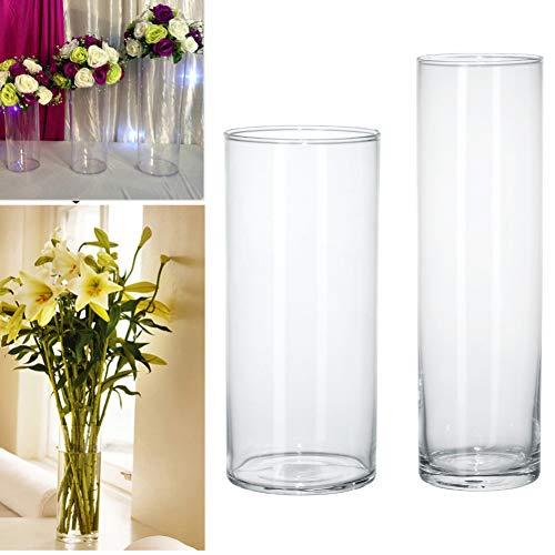 VBJDKB Retro Acryl Zylinder Vase Klar Rund Kunststoff Hochzeit Tisch Blume Stander Road Lead Hochzeit Herzstück Event Dekoration, 40Cm Hoch (Zylinder Vase Herzstück)