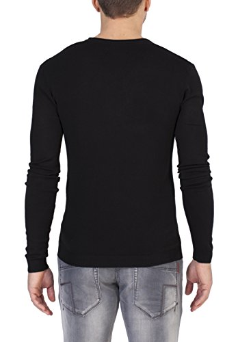 Timezone Herren Pullover Basic Light Knit V-Neck Schwarz (Caviar Black 9151)