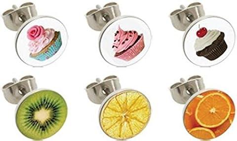eeddoo® Stahl - Ohrstecker - 12er Set - Früchte (Ohrschmuck Ohrstecker Creolen silber für Damen und