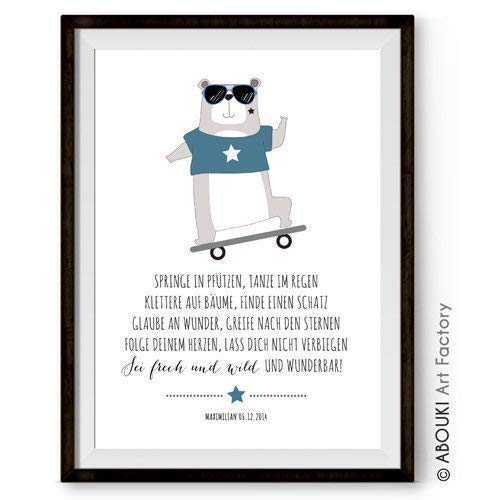 """ABOUKI Kunstdruck - ungerahmt - mit Bär und Skateboard Motiv""""Frech und wild"""", personalisierte Geschenkidee für Mädchen, Junge zur Taufe oder Geburt"""